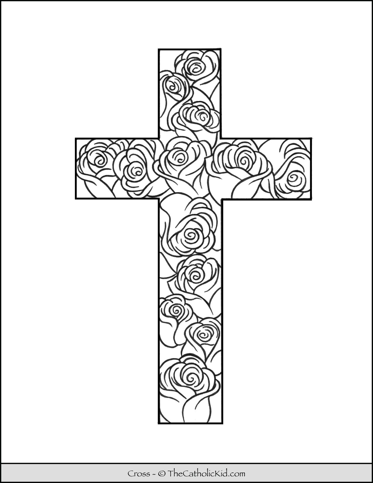 Cross Coloring Page With Rose Pattern