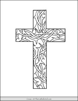 Cross Coloring Page With Thorn Pattern
