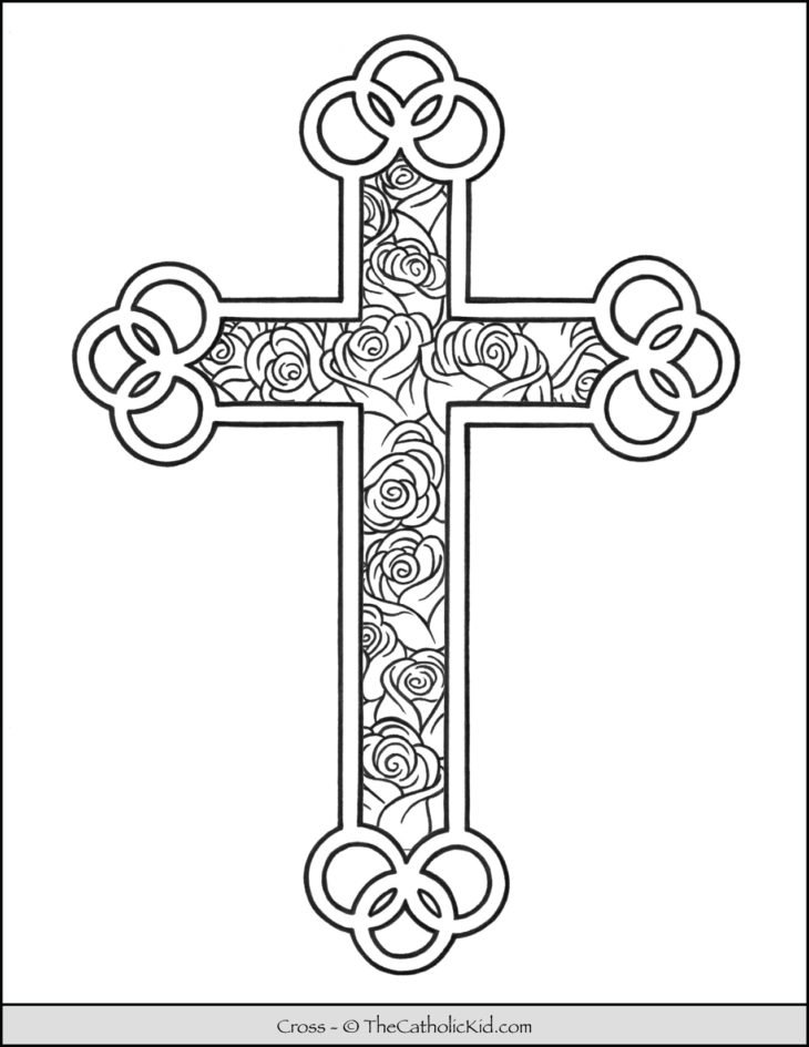 Cross Coloring Page - Roses