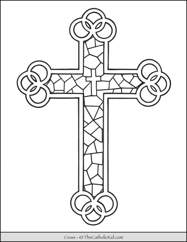 Cross Coloring Page - Stained Glass