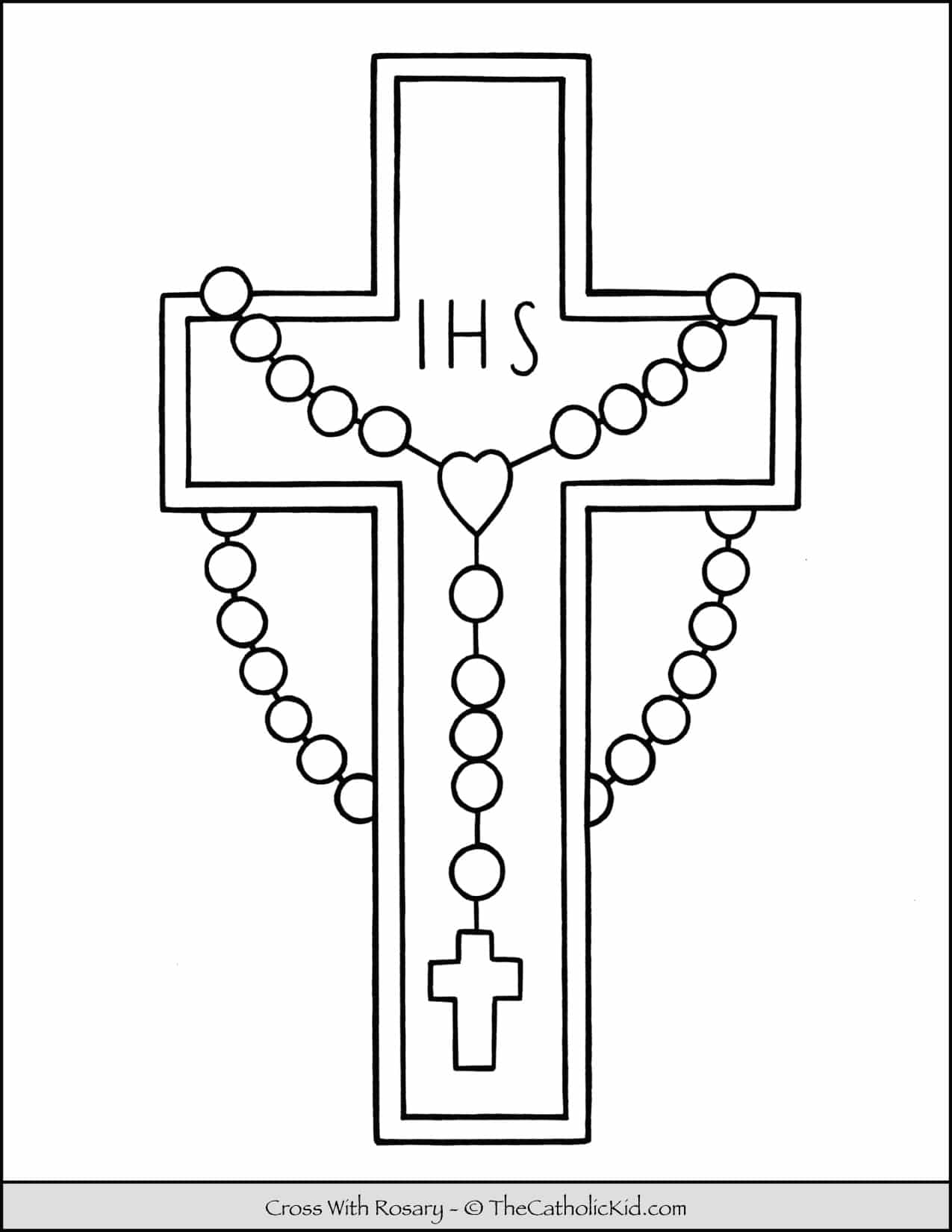 Cross With Rosary Coloring Page Thecatholickid Com