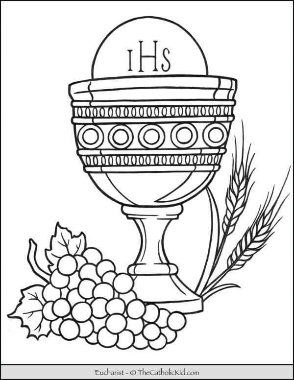 Eucharist in Chalice with Grapes & Wheat Coloring Page