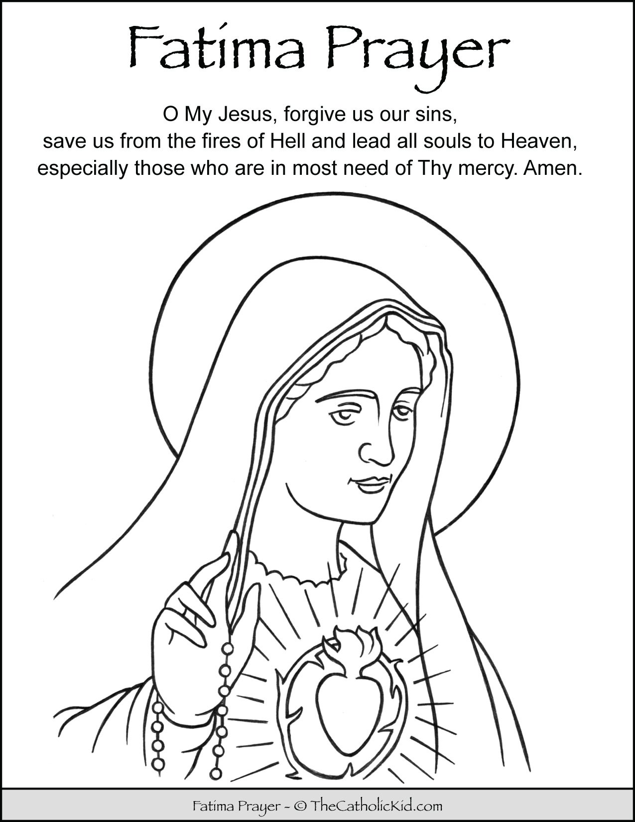 Fatima Prayer Coloring Page