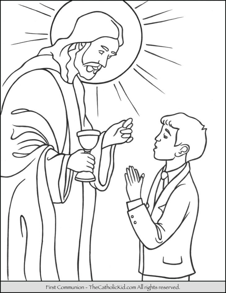 First Communion Boy Coloring Page