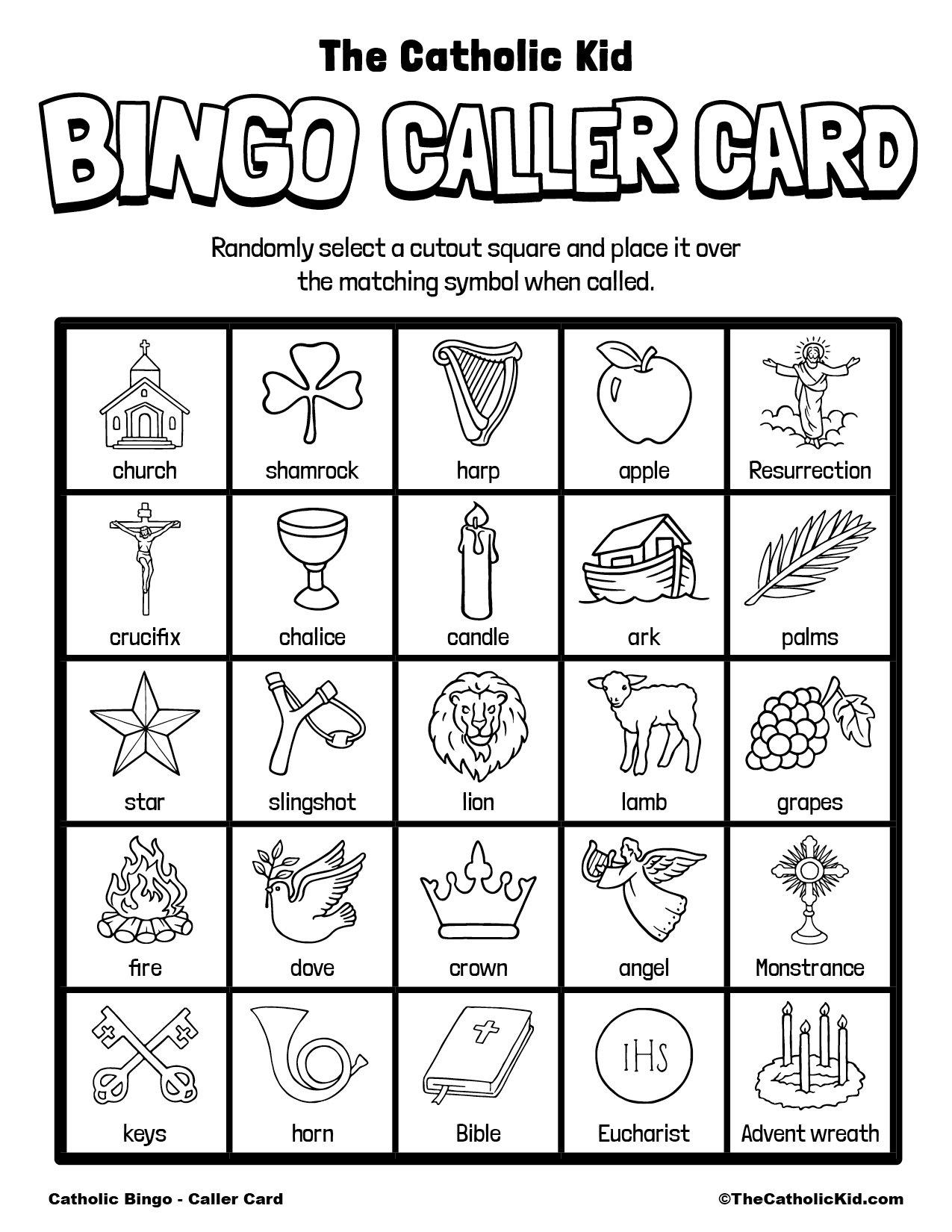 Free Printable Catholic Bingo Game Caller Card