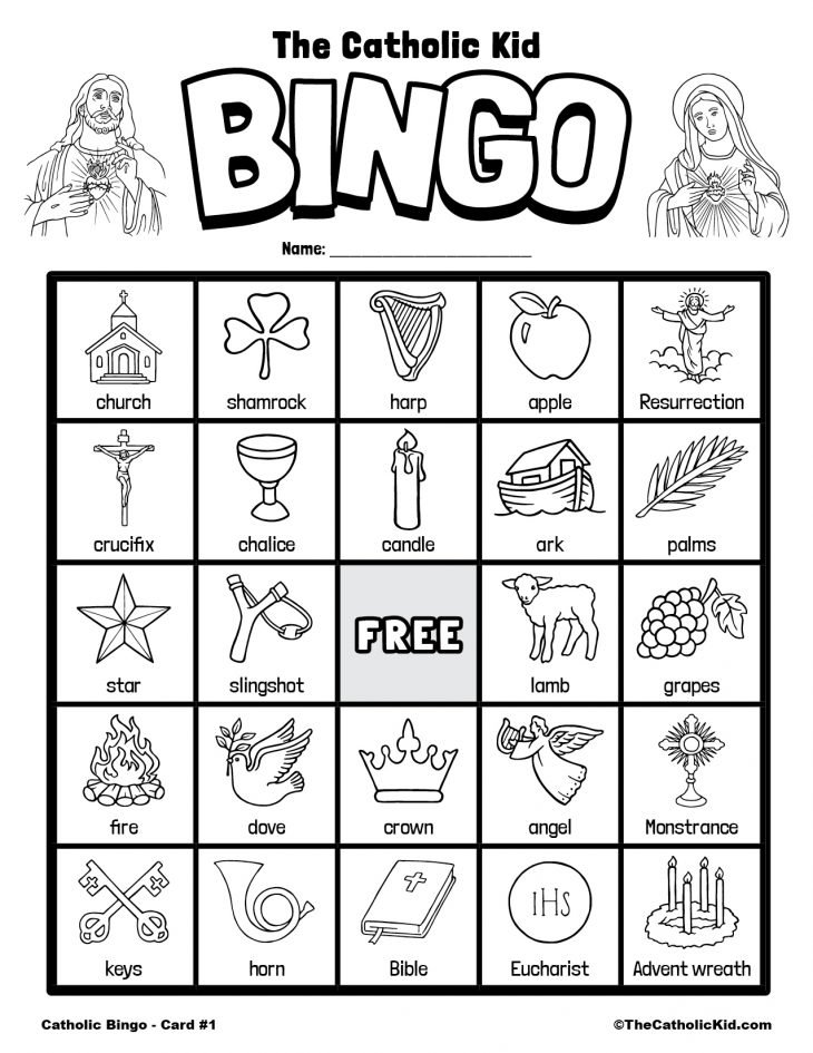Free Printable Catholic Bingo Game Card - 1
