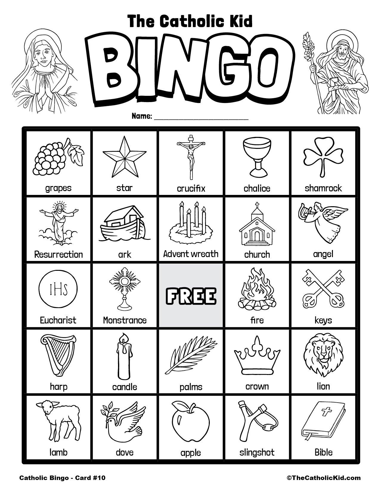 Free Printable Catholic Bingo Game Card - 10
