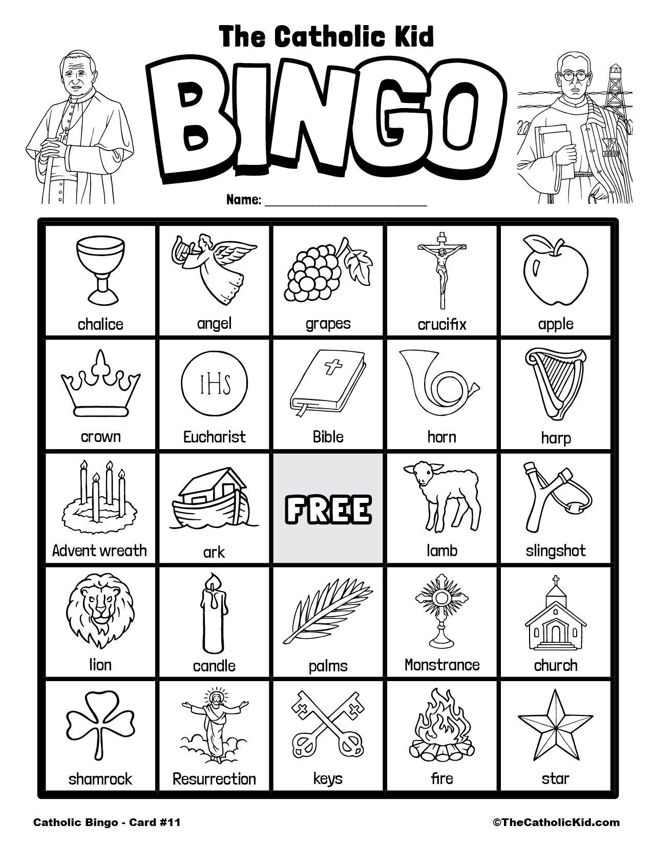 1Free Printable Catholic Bingo Game Card - 11