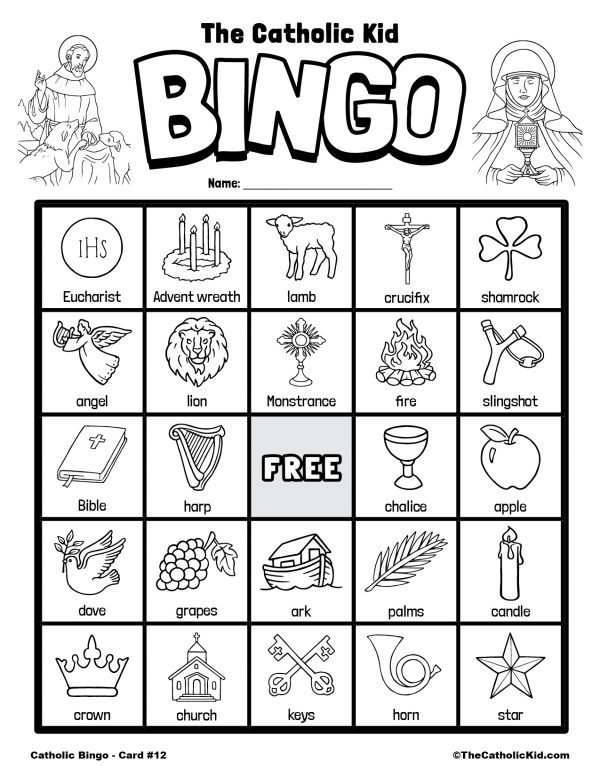 Free Printable Catholic Bingo Game Card - 12