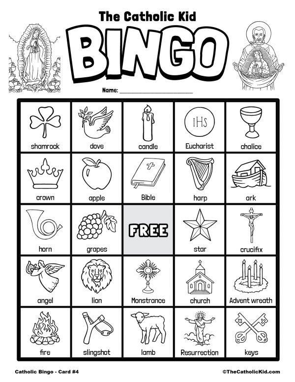 4Free Printable Catholic Bingo Game Card - 4