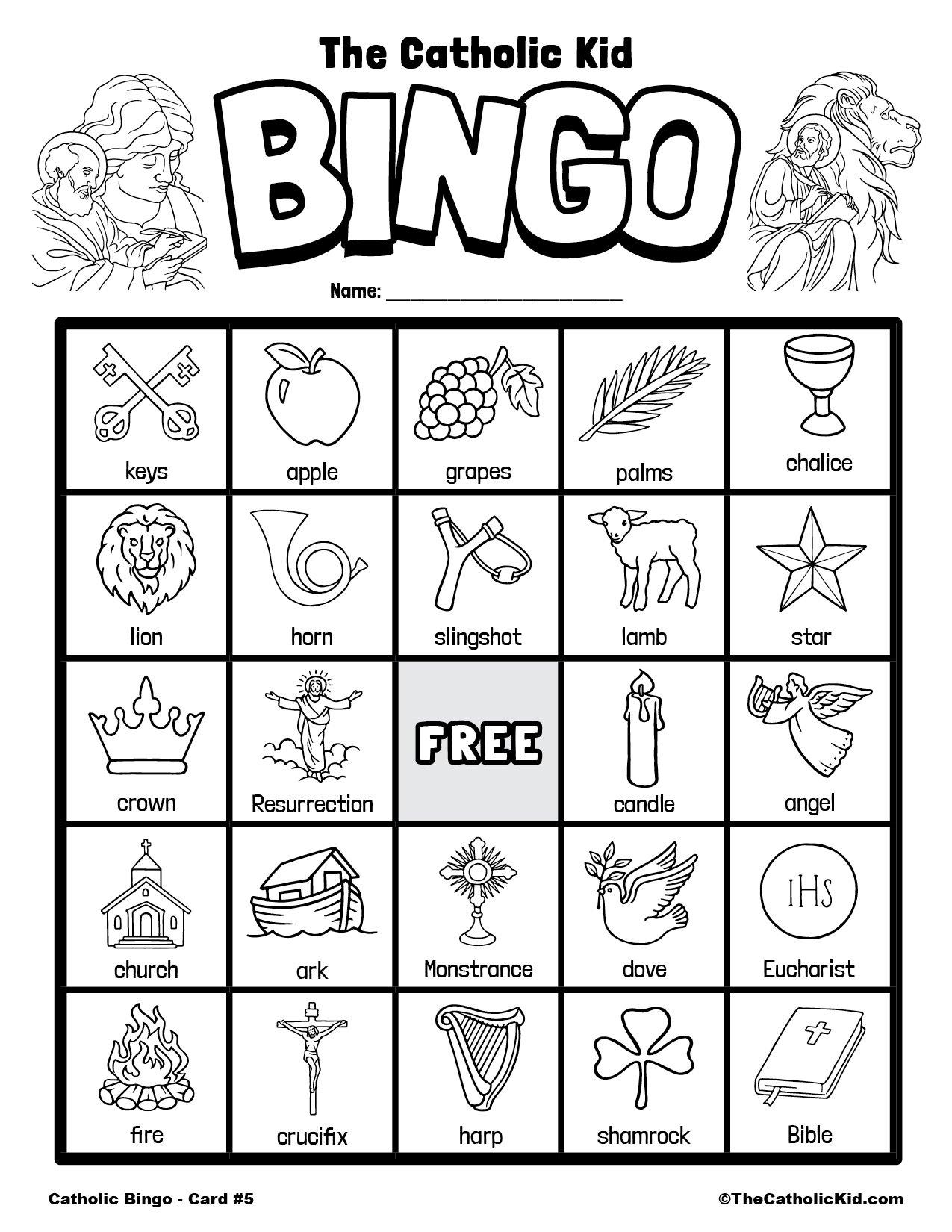 Free Printable Catholic Bingo Game Card - 5