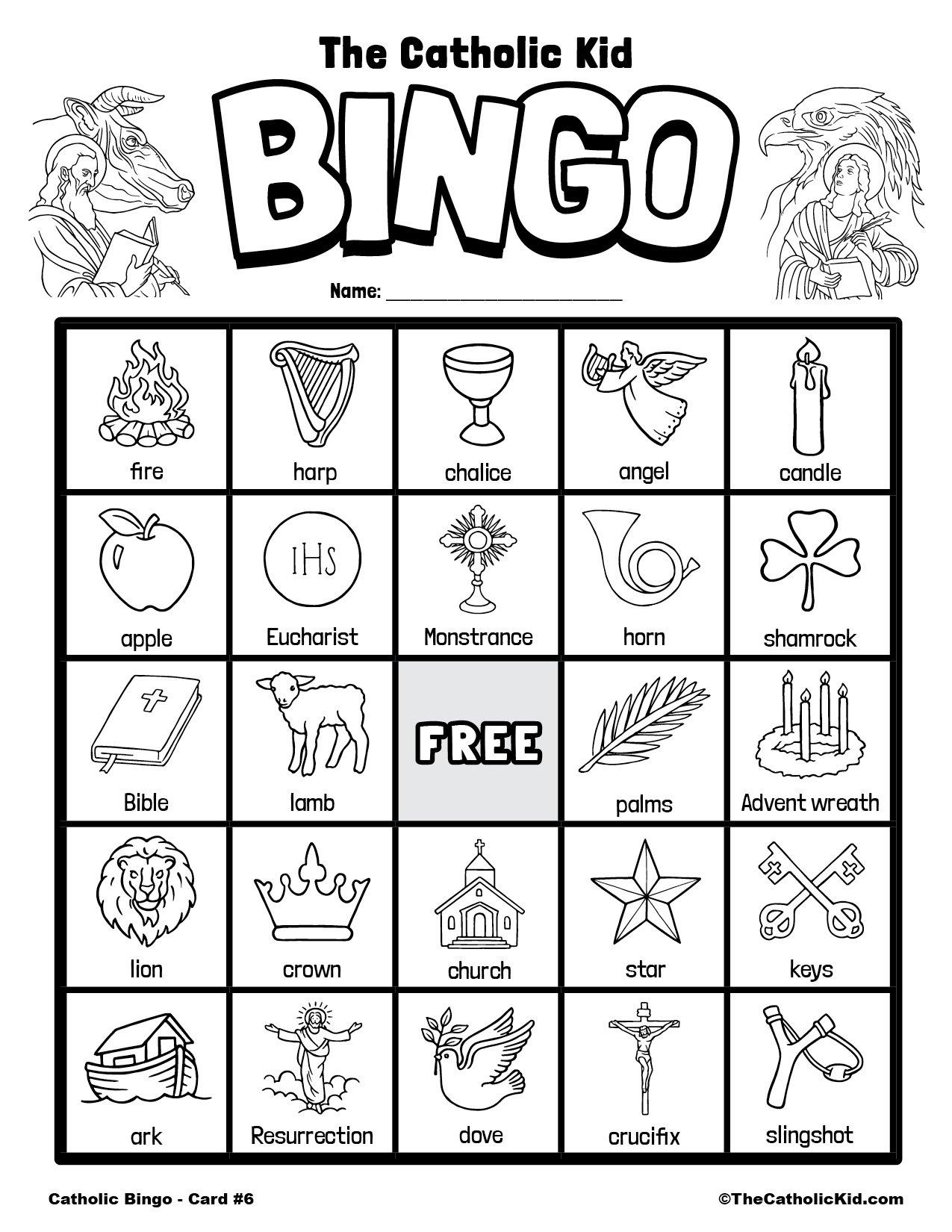 Free Printable Catholic Bingo Game Card - 6