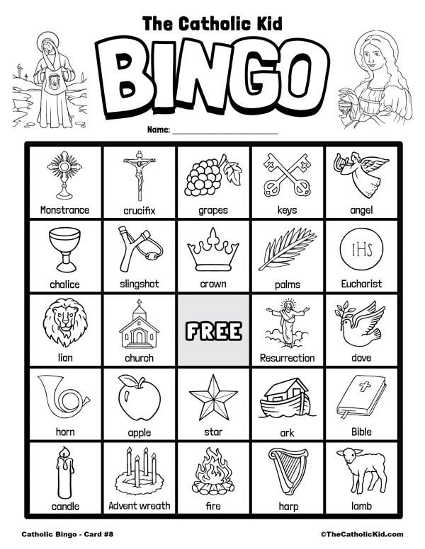 Free Printable Catholic Bingo Game Card - 8
