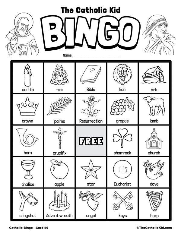 Free Printable Catholic Bingo Game Card - 9