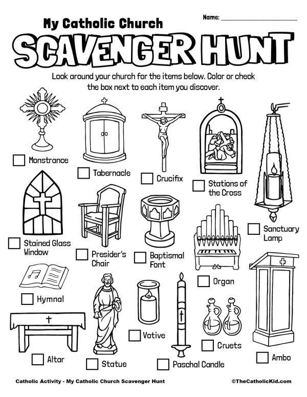 Free Printable Catholic Scavenger Hunt for Kids