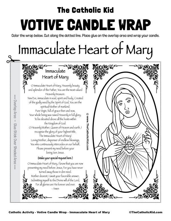 Free Printable Catholic Votive Candle Wrap Coloring Page Immaculate Heart of Mary