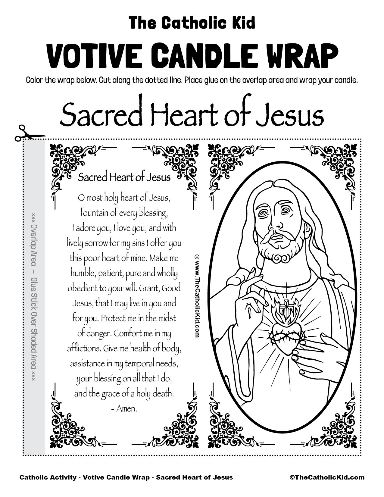 Free Printable Catholic Votive Candle Wrap Coloring Page Sacred Heart of Jesus