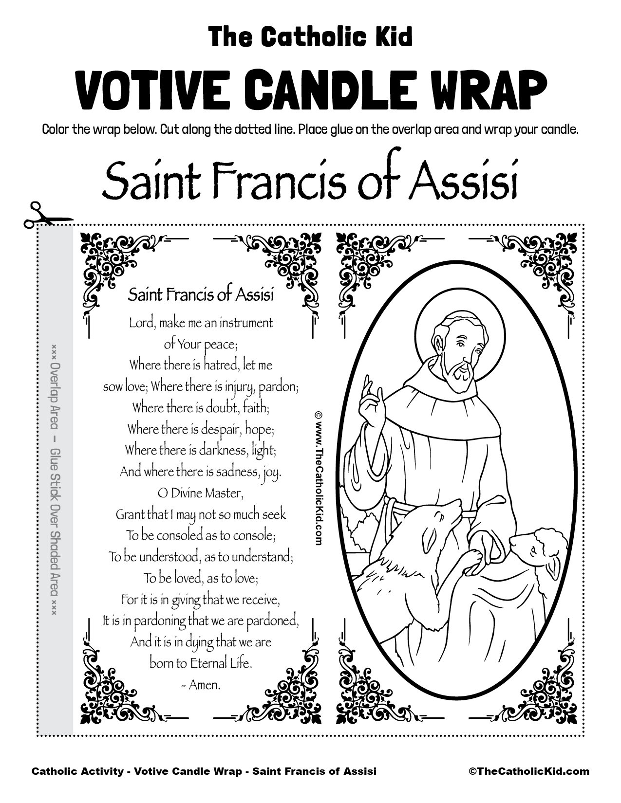 Free Printable Catholic Votive Candle Wrap Coloring Page Saint Francis of Assisi