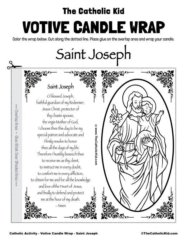 Free Printable Catholic Votive Candle Wrap Coloring Page Saint Joseph