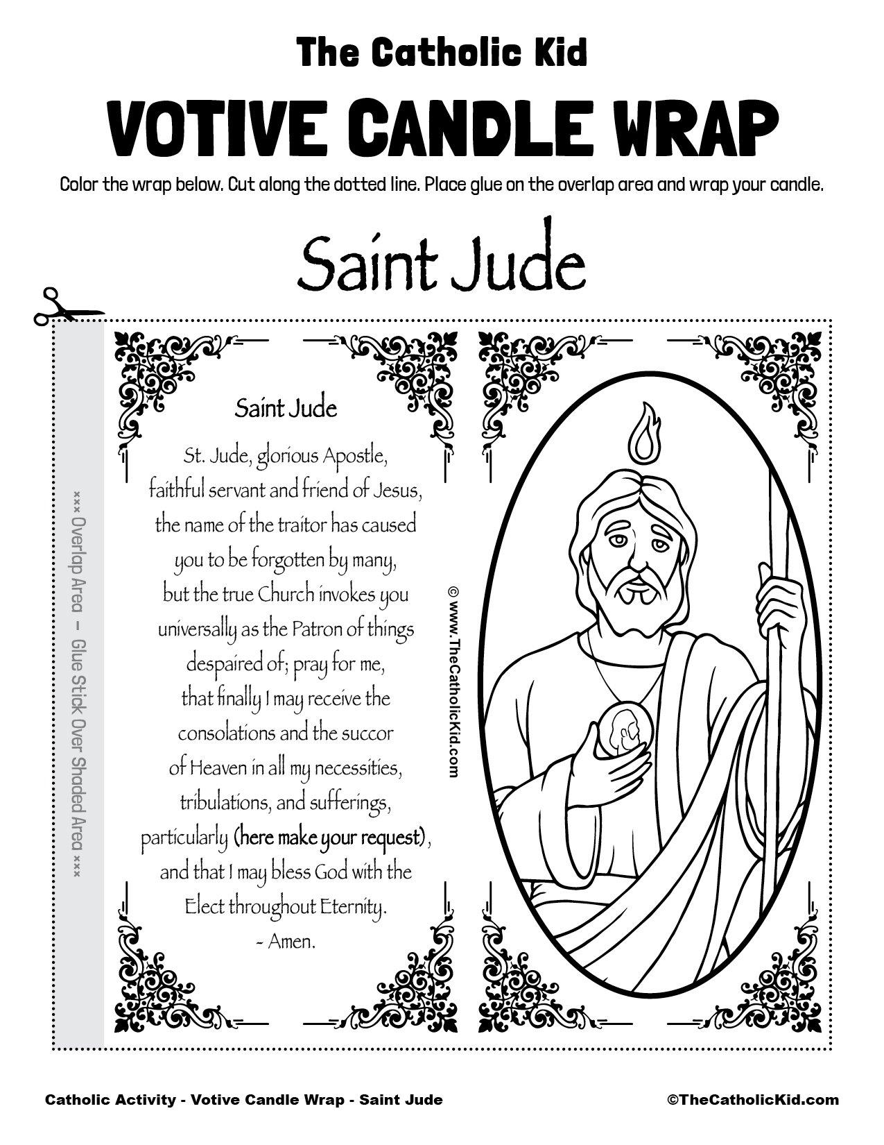 Free Printable Catholic Votive Candle Wrap Coloring Page Saint Jude