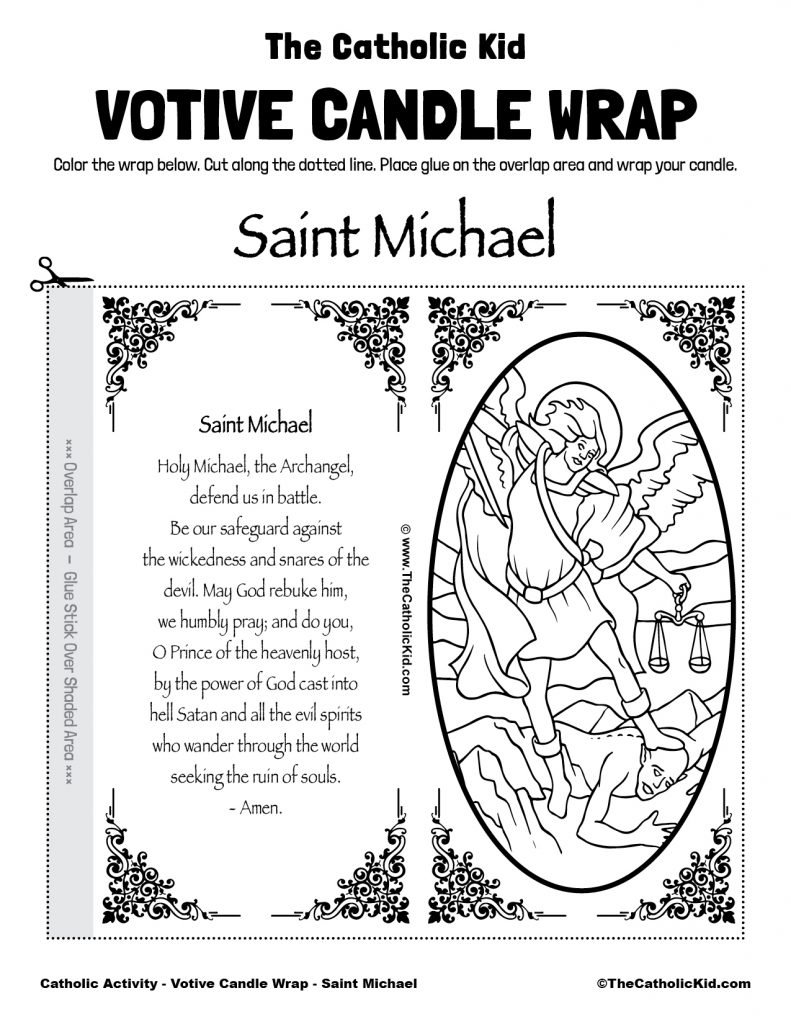 Free Printable Catholic Votive Candle Wrap Coloring Page Saint Michael