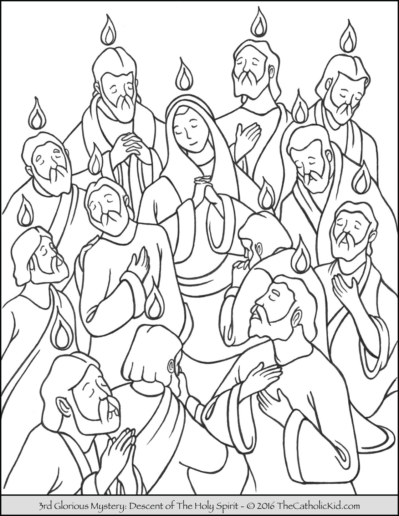 Glorious Mysteries Rosary Coloring Pages - The Descent of The Holy Spirit