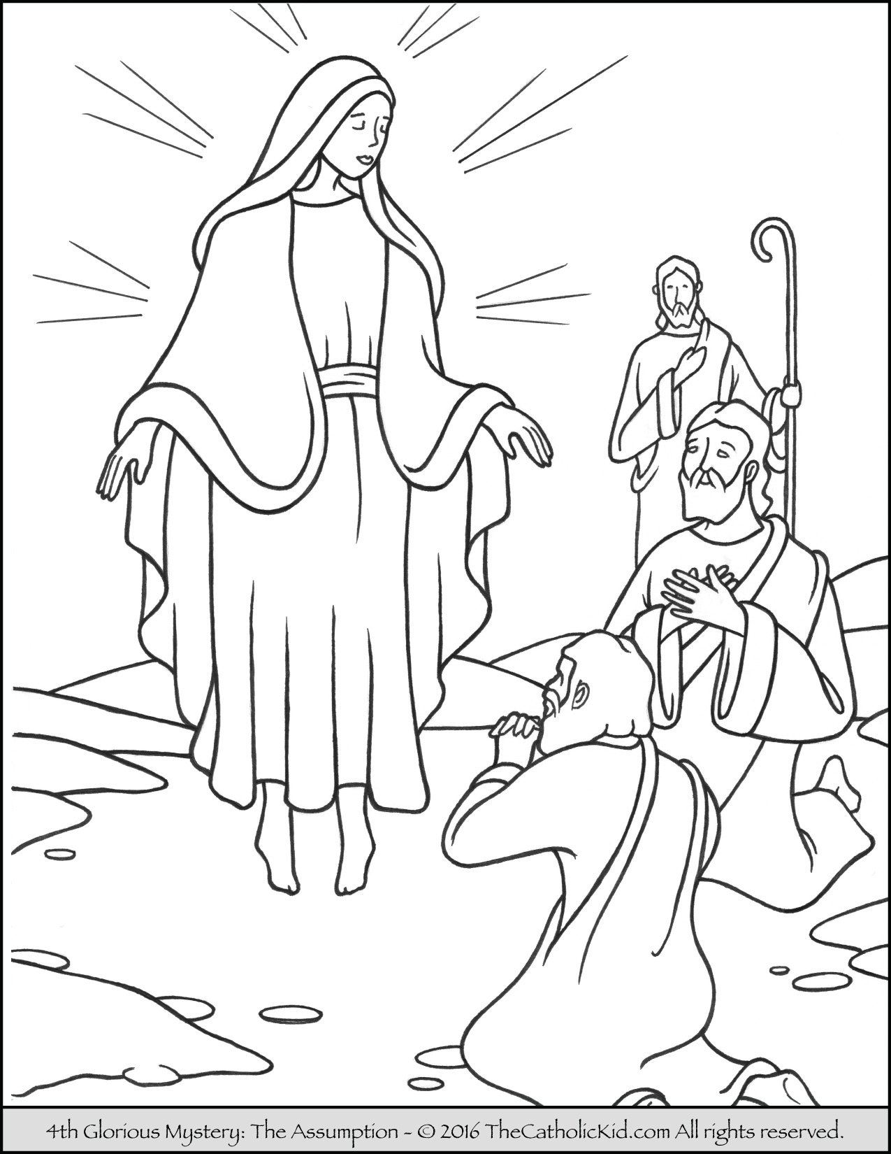 Glorious Mysteries Rosary Coloring Pages - The Assumption