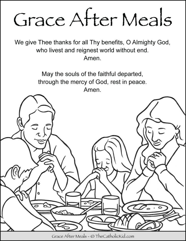 Grace After Meals Prayer Kids Coloring Page