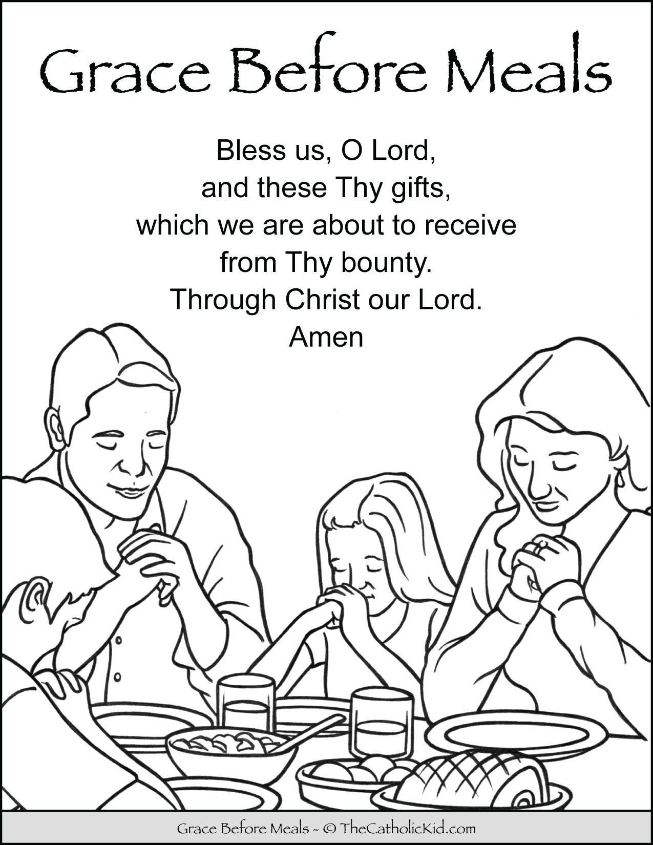 Grace Before Meals Prayer Kids Coloring Page