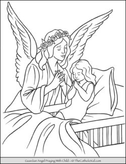 Guardian Angel and Child Praying Coloring Page