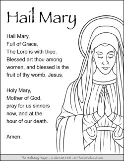 Hail Mary Prayer Coloring Page