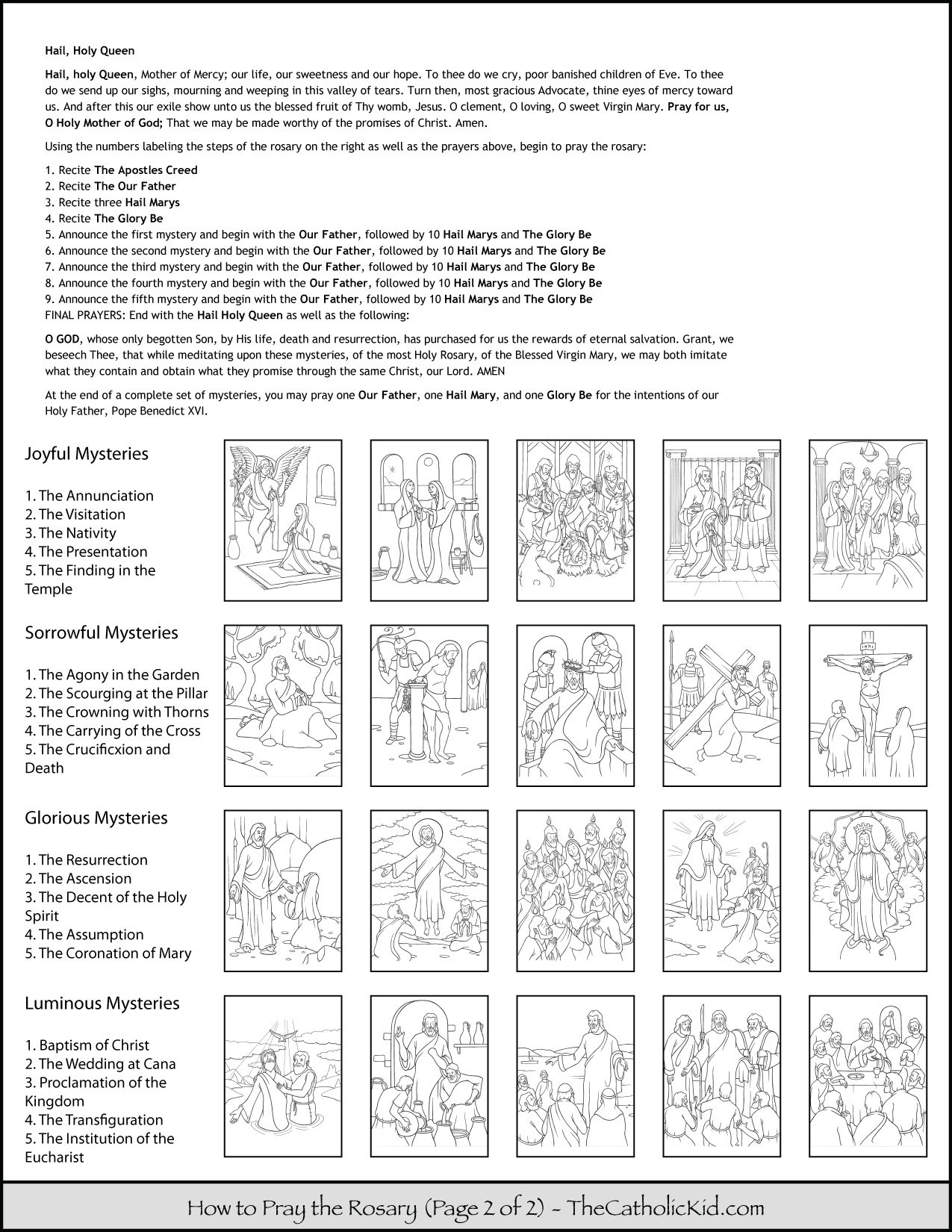 How to Pray the Rosary Prayers Kids Coloring Page 2