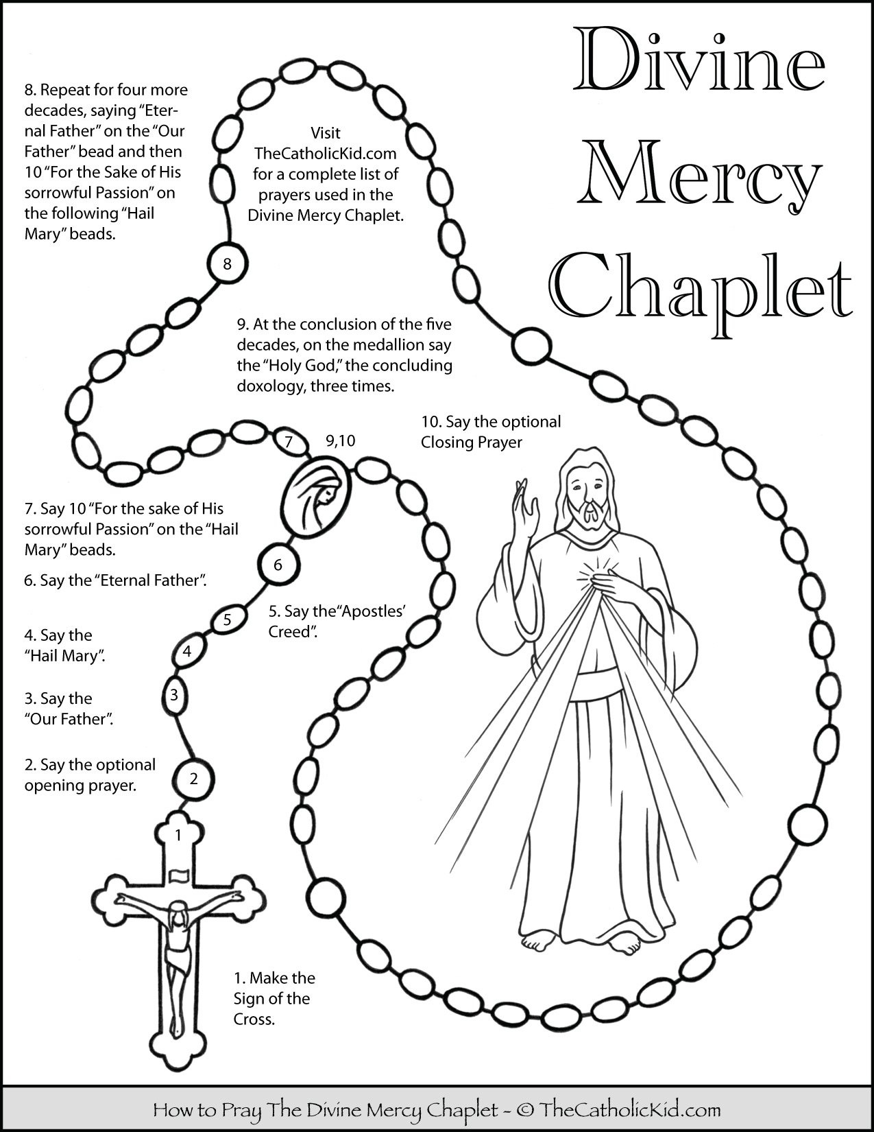 How to Pray the Divine Mercy Chaplet - Kids Coloring Page