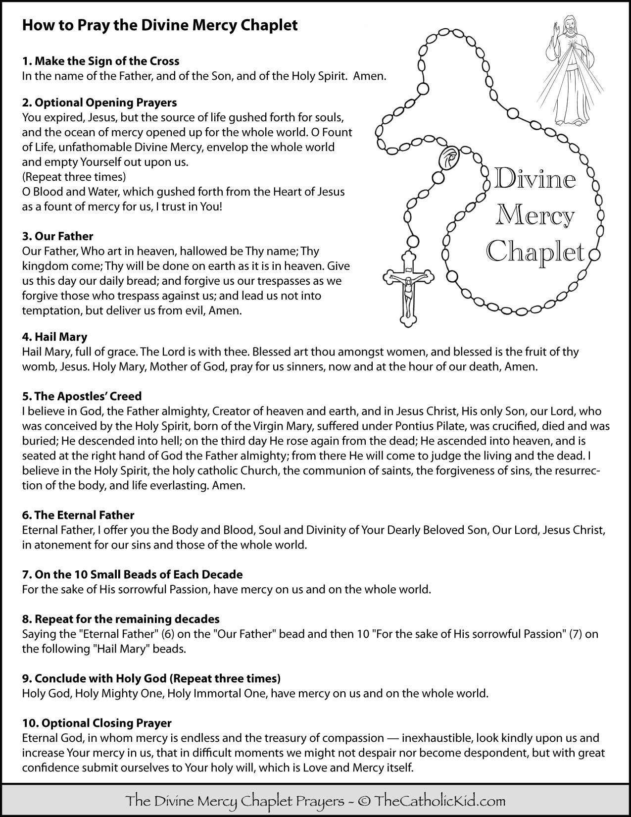 How to Pray the Divine Mercy Chaplet - Prayers for Kids