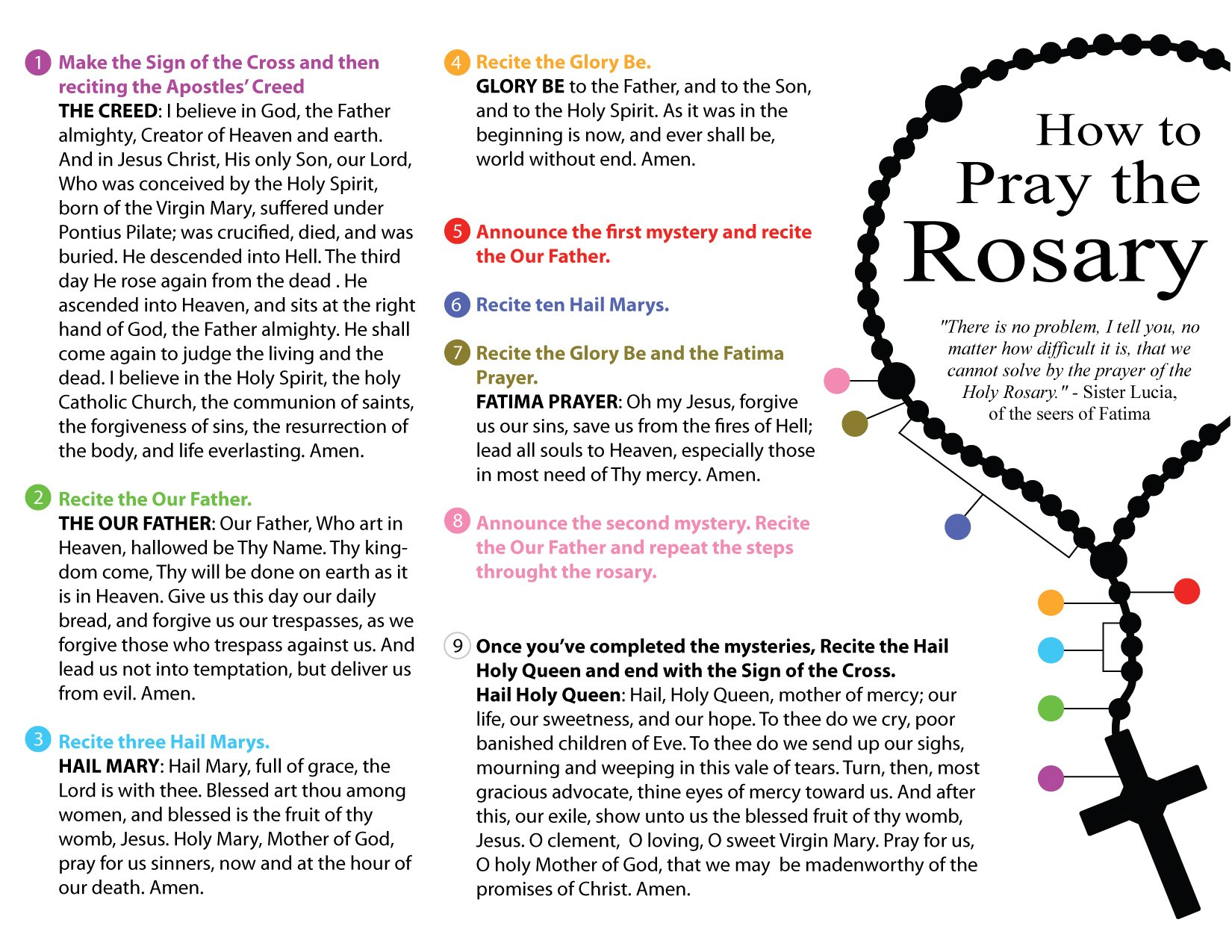 How to Pray the Rosary - D1 Prayers Color