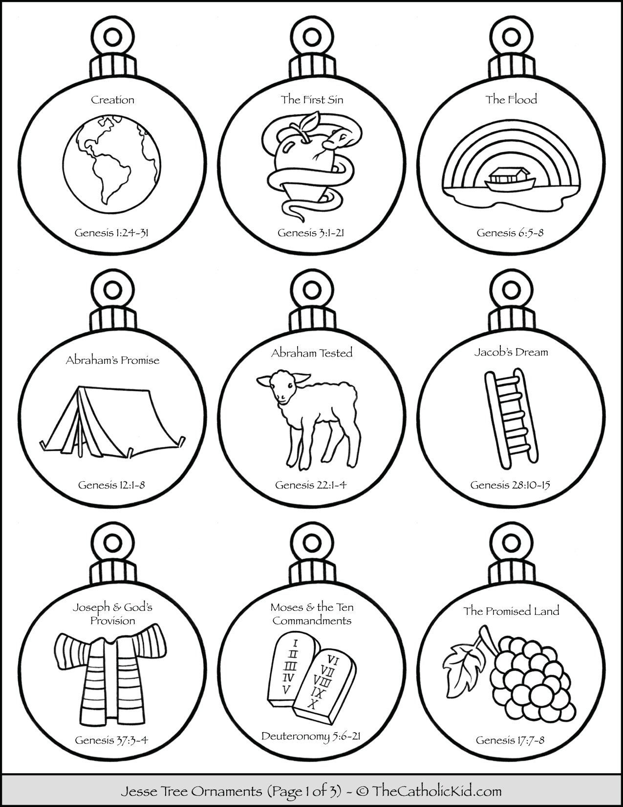 Jesse Tree Ornaments Printable Coloring Page 1