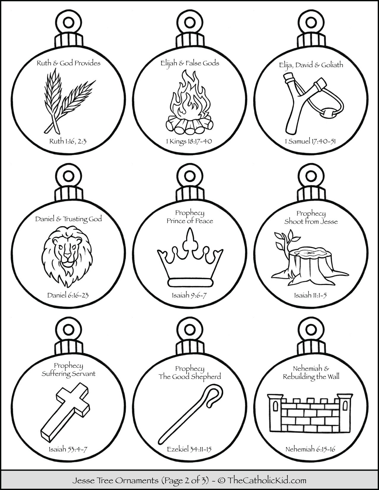 Jesse Tree Ornaments Printable Coloring Page 2