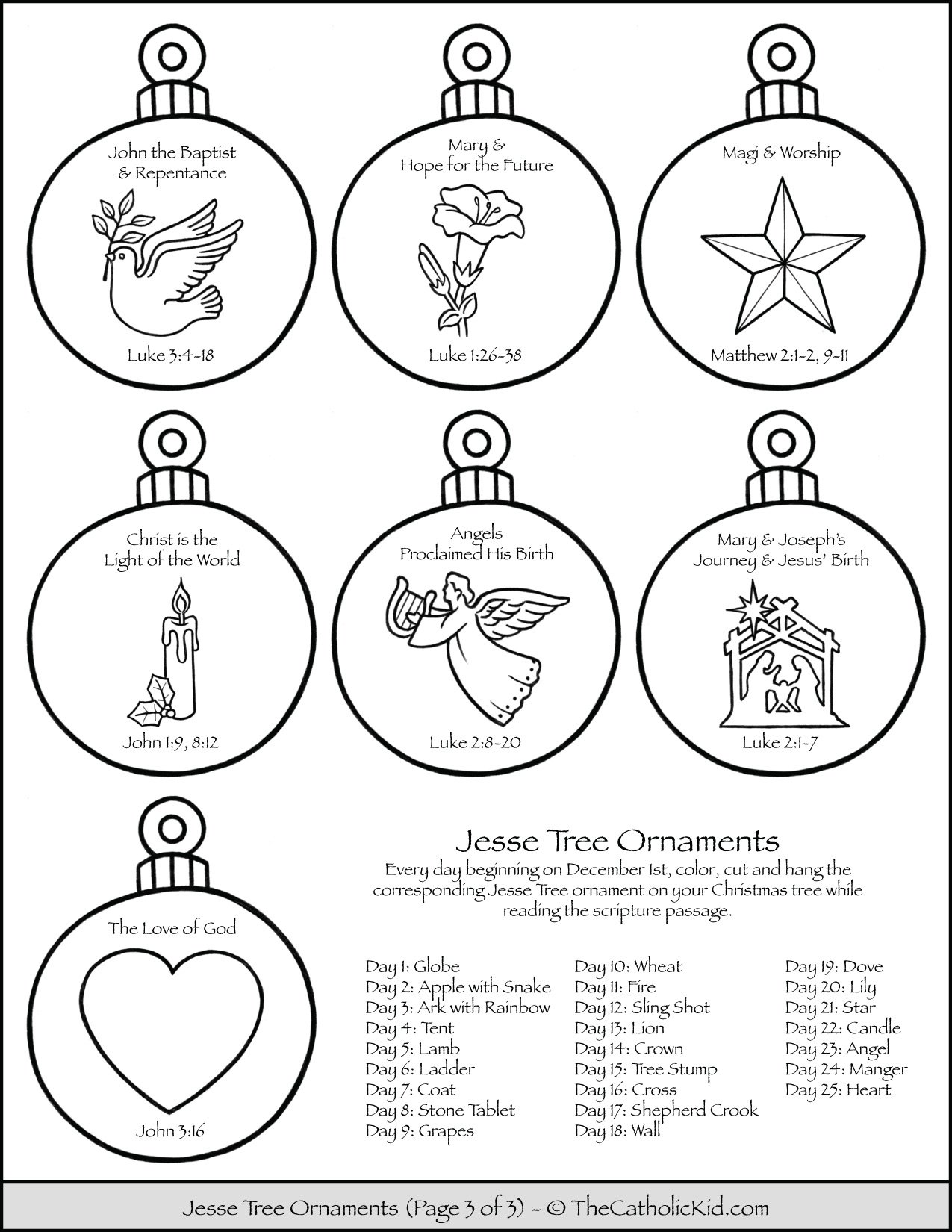 Jesse Tree Ornaments Printable Coloring Page 3