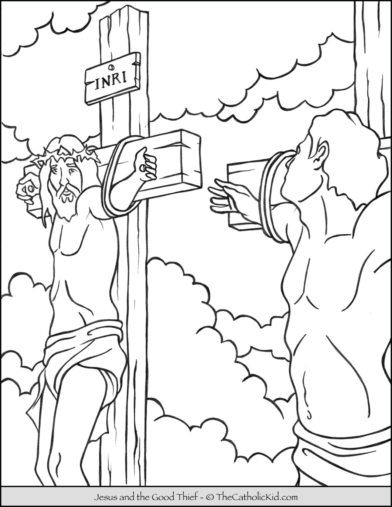 Jesus and the Good Thief Coloring Page