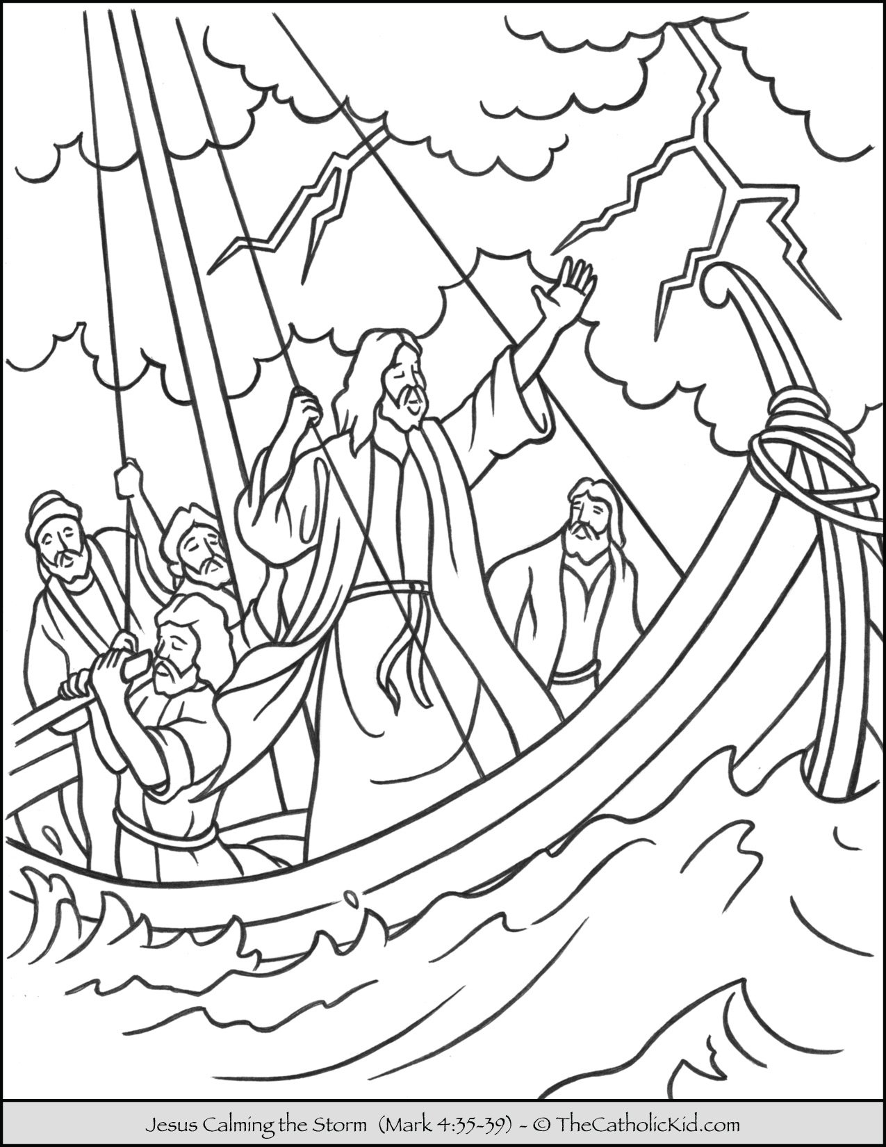 Jesus Calming the Storm Coloring Page