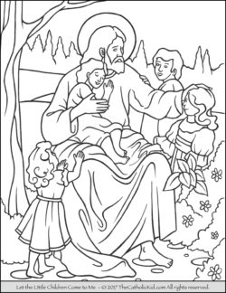 Jesus Children Coloring Page