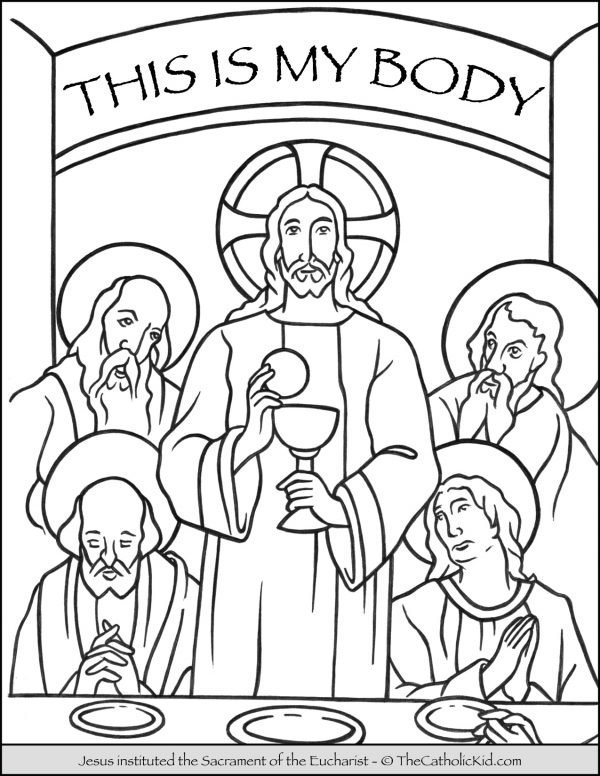 Jesus - Sacrament of the Eucharist Coloring Page