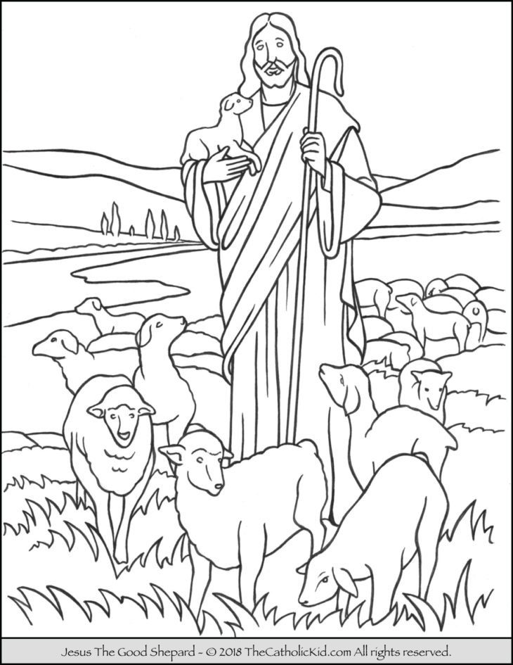 Jesus The Good Shepard Coloring Page