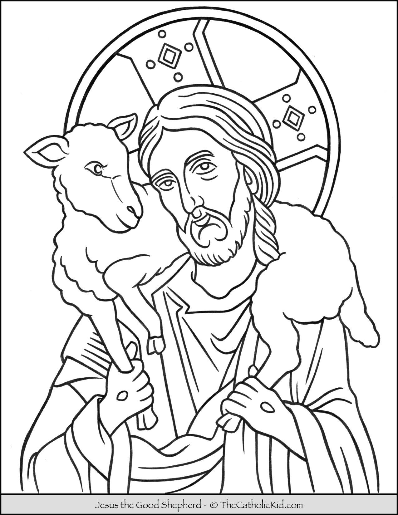 Jesus the Good Shepherd Coloring Page