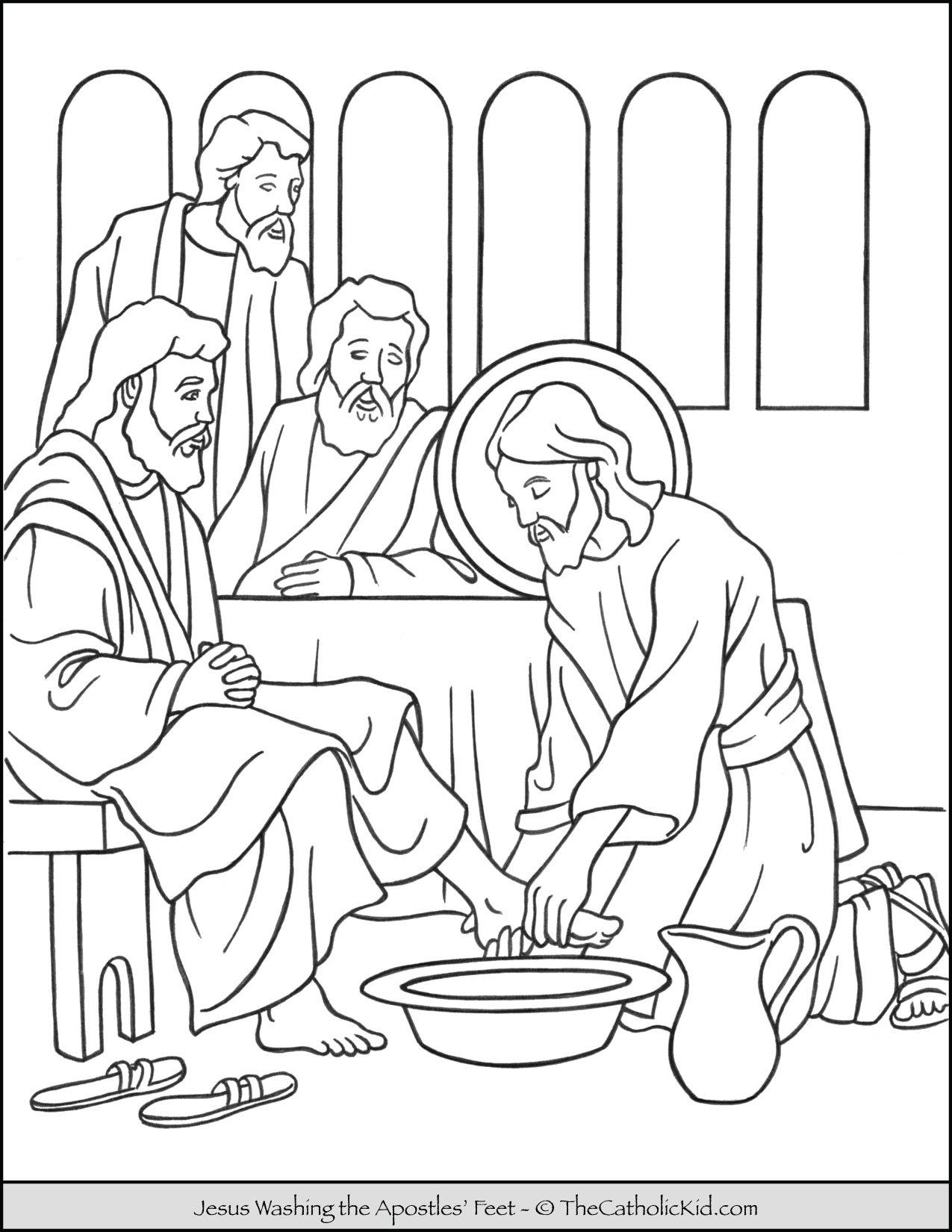 Jesus Washing the Apostles Feet Coloring Page
