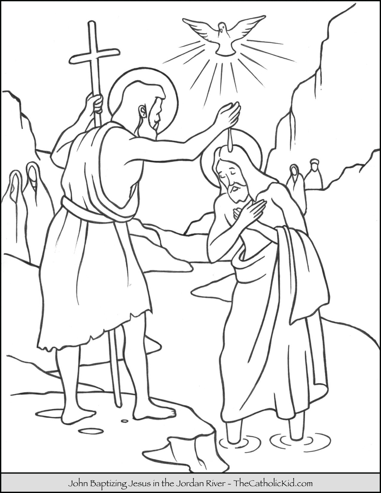 Saint John Baptizing Jesus in the River Jordan Coloring ...