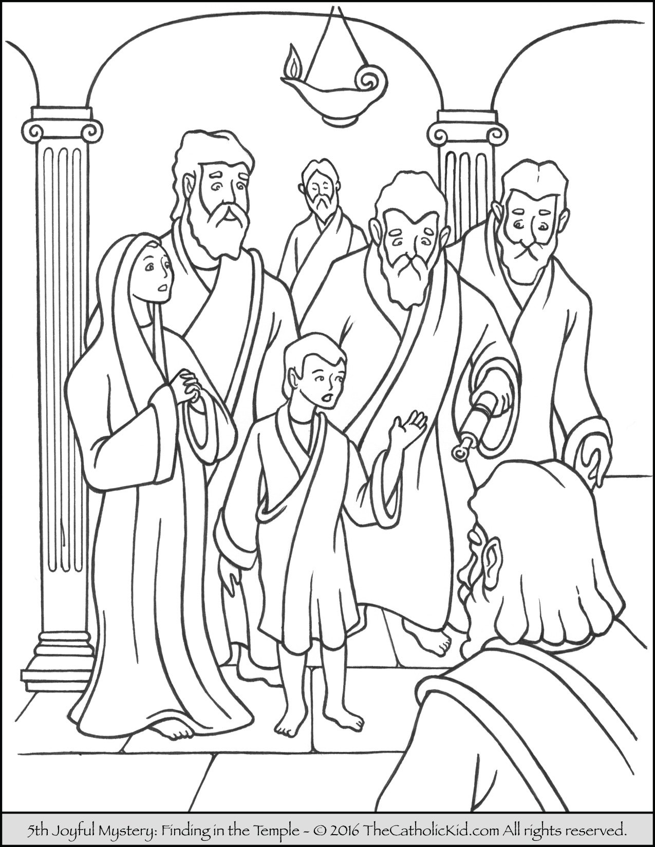 Joyful Mysteries Rosary Coloring Pages - Finding Jesus in the Temple