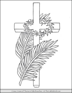 Lent Coloring Page Cross Palms Crown of Thorns