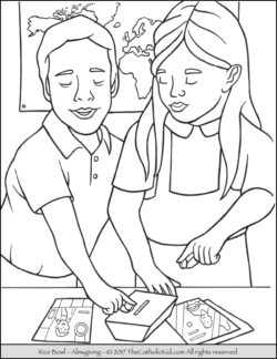 Lent Rice Bowl Coloring Page