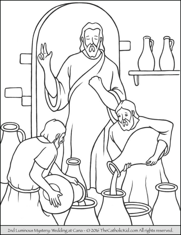 Luminous Mysteries Rosary Coloring Pages - Wedding Feast at Cana